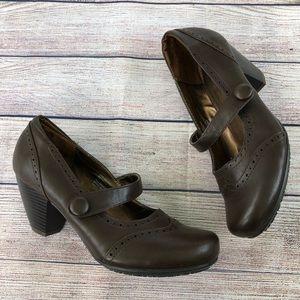 Rialto Mary Jane Chunky Heel Shoes Brown 8.5